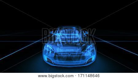 Sport car wire model with blue neon on black background. 3d render