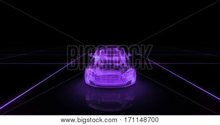 Sport car wire model with purple neon on black background. 3d render
