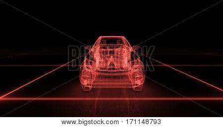 Sport car wire model with red neon on black background. 3d render