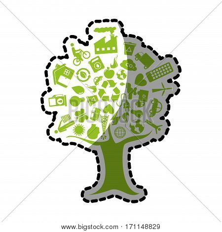 sticker tree with enviroment of recycle and ecology vector illustration