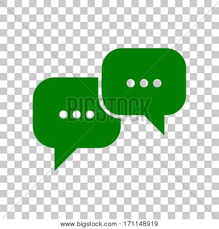 Speech bubbles sign. Dark green icon on transparent background.