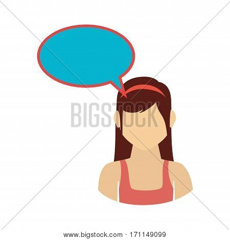 oval callout for dialogue with girl half body vector illustration