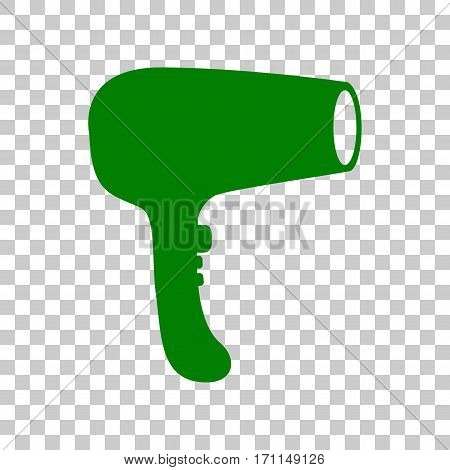 Hair Dryer sign. Dark green icon on transparent background.