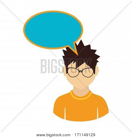 oval callout for dialogue with boy half body vector illustration