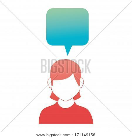 rounded square callout for dialogue with girl half body and without face vector illustration