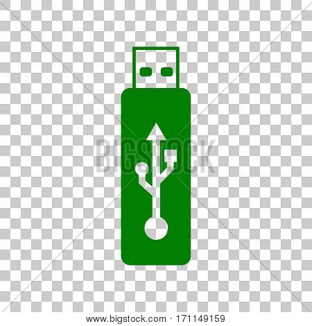 Vector USB flash drive sign. Dark green icon on transparent background.