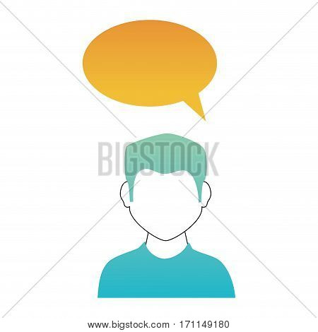 oval callout for dialogue with boy half body and without face vector illustration