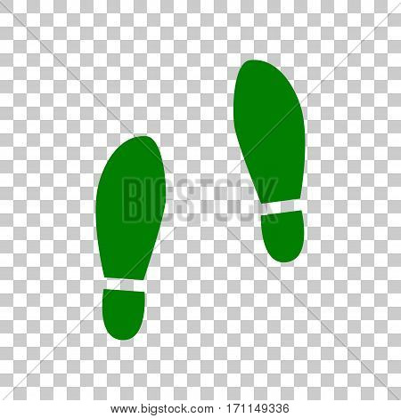 Imprint soles shoes sign. Dark green icon on transparent background.