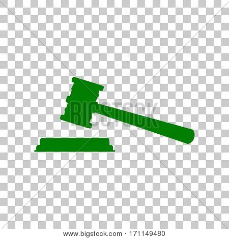 Justice hammer sign. Dark green icon on transparent background.