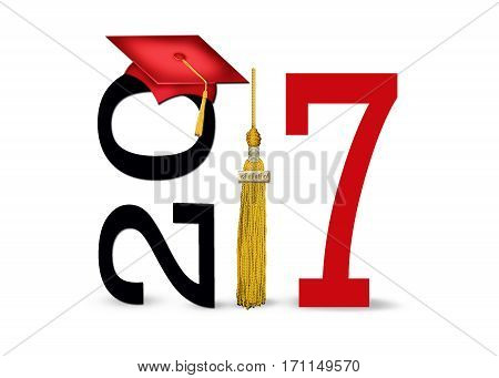 red graduation cap and gold tassel on white for class of 2017 isolated on white