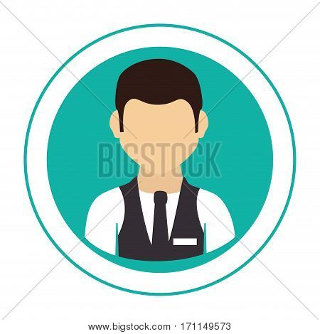 circular frame with half body man with waistcoat and tie vector illustration