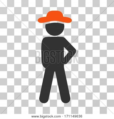 Gentleman Audacity icon. Vector illustration style is flat iconic bicolor symbol orange and gray colors transparent background. Designed for web and software interfaces.