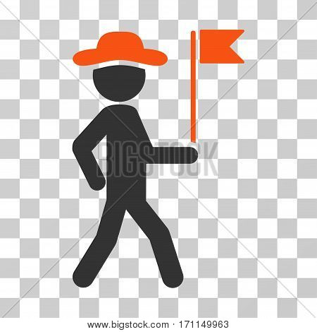 Gentleman Flag Guide icon. Vector illustration style is flat iconic bicolor symbol orange and gray colors transparent background. Designed for web and software interfaces.