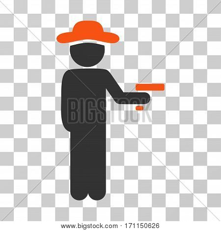 Gentleman Robber icon. Vector illustration style is flat iconic bicolor symbol orange and gray colors transparent background. Designed for web and software interfaces.