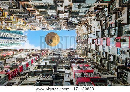 Old apartment and balloon in Hong Kong