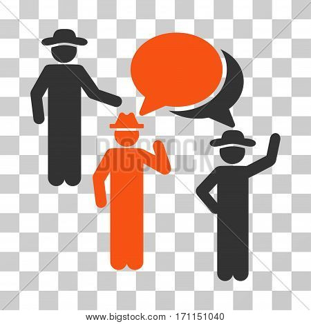 Gentlemen Discussion icon. Vector illustration style is flat iconic bicolor symbol orange and gray colors transparent background. Designed for web and software interfaces.