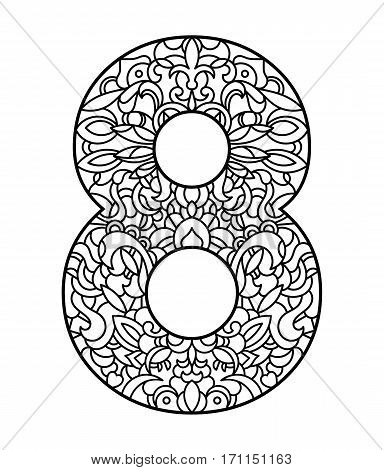 Number eight with pattern for coloring page. Eighth of March - International Womens Day holiday. Vector illustration - greeting card.