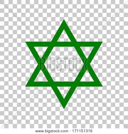 Shield Magen David Star. Symbol of Israel. Dark green icon on transparent background.