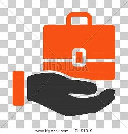 Hand Holding Case icon. Vector illustration style is flat iconic bicolor symbol orange and gray colors transparent background. Designed for web and software interfaces.