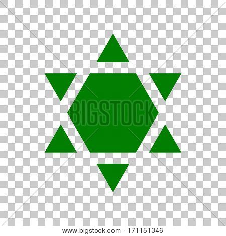 Shield Magen David Star Inverse. Symbol of Israel inverted. Dark green icon on transparent background.