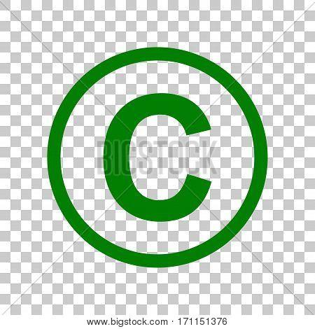 Copyright sign illustration. Dark green icon on transparent background.