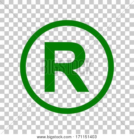 Registered Trademark sign. Dark green icon on transparent background.