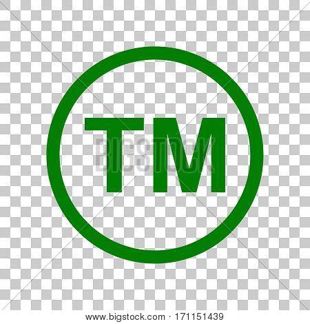 Trade mark sign. Dark green icon on transparent background.