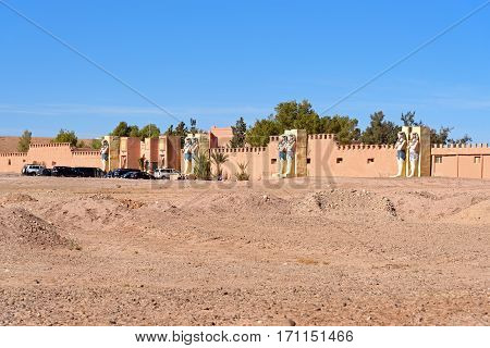 Ouarzazate Morocco - Jan 4 2017: Entrance to Atlas Corporation Studios is film studio. Ouarzazate area is film-making location where Morocco's biggest studios