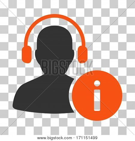 Help Desk icon. Vector illustration style is flat iconic bicolor symbol orange and gray colors transparent background. Designed for web and software interfaces.