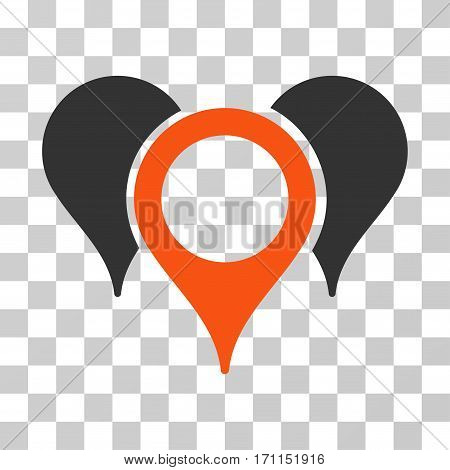 Map Pointers icon. Vector illustration style is flat iconic bicolor symbol orange and gray colors transparent background. Designed for web and software interfaces.