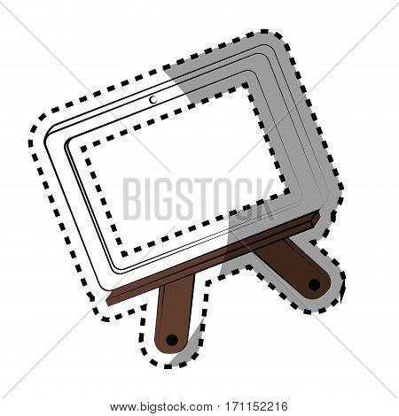 monochrome contour sticker with school slate vector illustration