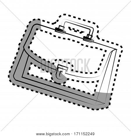 monochrome contour sticker with executive suitcase vector illustration