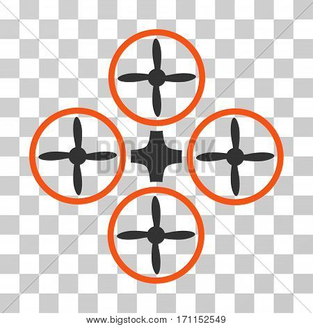 Quadcopter icon. Vector illustration style is flat iconic bicolor symbol orange and gray colors transparent background. Designed for web and software interfaces.
