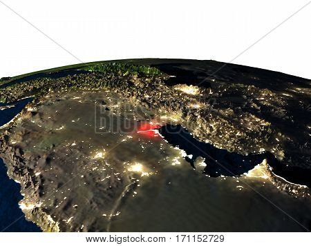 Kuwait From Space At Night
