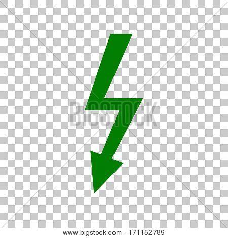 High voltage danger sign. Dark green icon on transparent background.