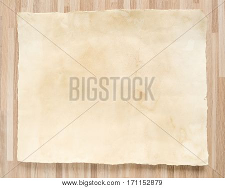 Vintage paper texture on wood texture background.