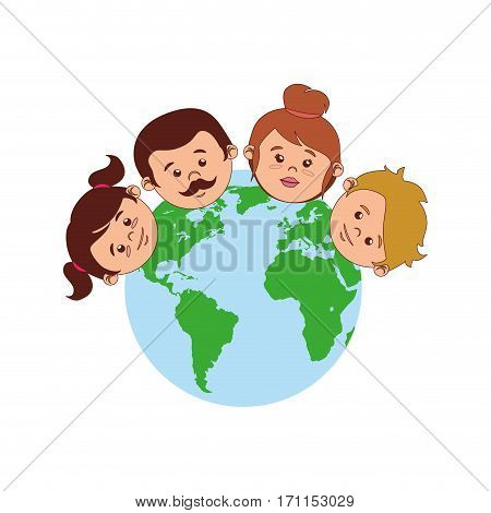 colorful world with family faces vector illustration