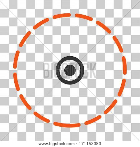 Round Area icon. Vector illustration style is flat iconic bicolor symbol orange and gray colors transparent background. Designed for web and software interfaces.
