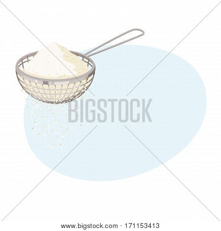 Flour sifter. Sieve baking ingredients. Healthy organic food. Cartoon vector. Kitchen utensils. Dough cooking.