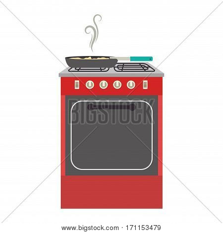 colorful silhouette stove with oven vector illustration