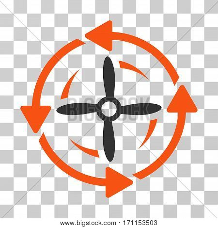 Screw Rotation icon. Vector illustration style is flat iconic bicolor symbol orange and gray colors transparent background. Designed for web and software interfaces.