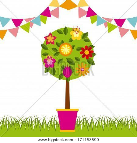 decorative pennants and tree with flowers over white background. colorful design. vector illustration