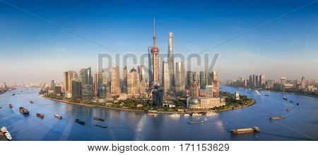 Shanghai skyline with modern urban skyscrapers China panoramic view at dusk Asia building asian city
