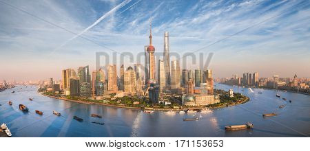 Shanghai skyline with modern urban skyscrapers China panoramic view at dusk Asia building asian cityn new city side