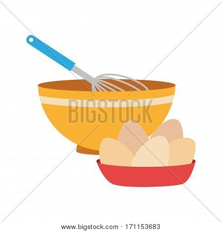 set of colorful dish with hand beayer and eggs vector illustration