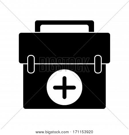 first aid kit emergency equipment pictogram vector illustration eps 10