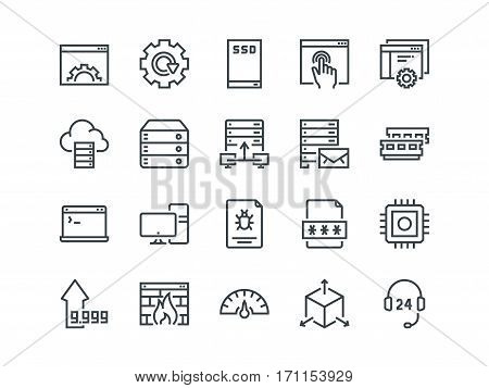 Hosting. Set of outline vector icons. Includes such as SSD Disk, Control Panel, Traffic, Firewall and other. Editable Stroke. 48x48 Pixel Perfect