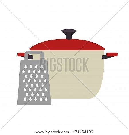 full color cooking pot with grater vector illustration