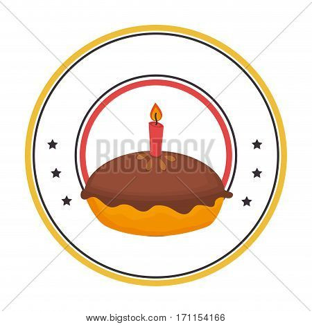 circular border with pie birthday with candle vector illustration