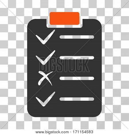 Task List icon. Vector illustration style is flat iconic bicolor symbol orange and gray colors transparent background. Designed for web and software interfaces.